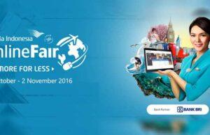 Garuda Indonesia Online Travel Fair bekerja sama dengan Bank BRI dapatkan cashback hingga RP 3 Juta.