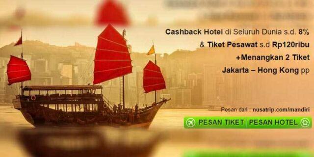 Diskon tiket pesawat hingga Rp 120.000 gunakan kartu kredit Mandiri dan nikmati juga cashback hotel hingga 8%.