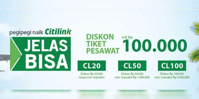Dapatkan diskon hingga Rp 100.000 Promo tiket pesawat citilink di pegipegi.