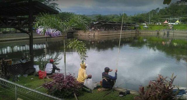Kolam pemancingan ikan di taman hammock