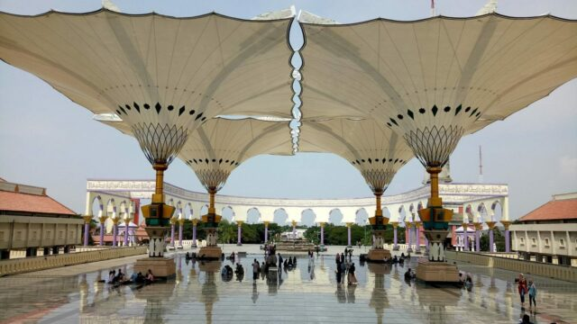 payung hidrolik elektrik otomatis masjid agung jawa tengah ala masjid nabawi madinah