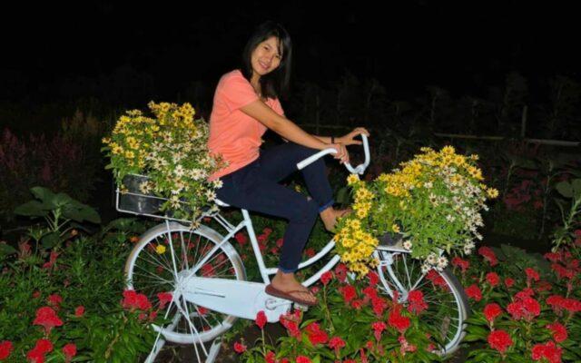 sepeda yang dihias bunga