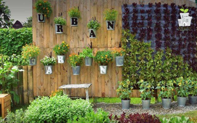 Contoh kebun vertikal di Urban Farming Center Purwakarta