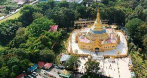 Pagoda Emas Taman Alam Lumbini Kab. Karo terlihat megah dari kejauhan