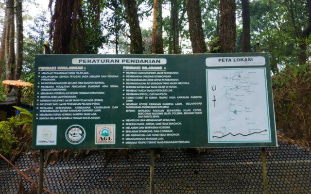 Plang Peraturan dan lokasi pendakian lawu cemoro kandang