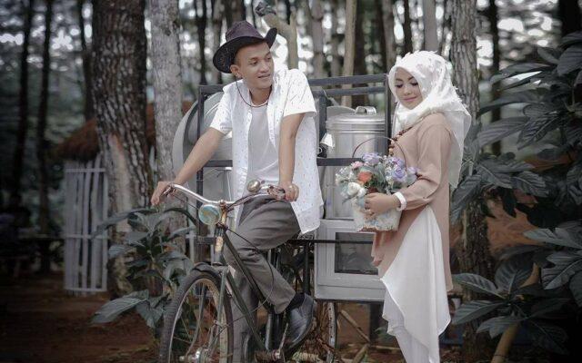Sesi foto Romantis diantara pohon pinus