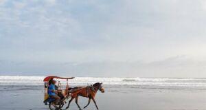 menyusuri pantai menggunakan kereta kuda
