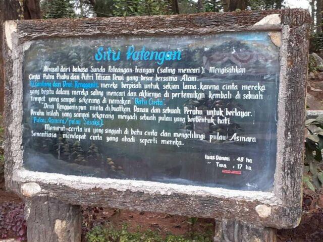 Salah satu keunikan Situ Patenggang datang dari legenda rakyat Bandung yang tersimpan di baliknya