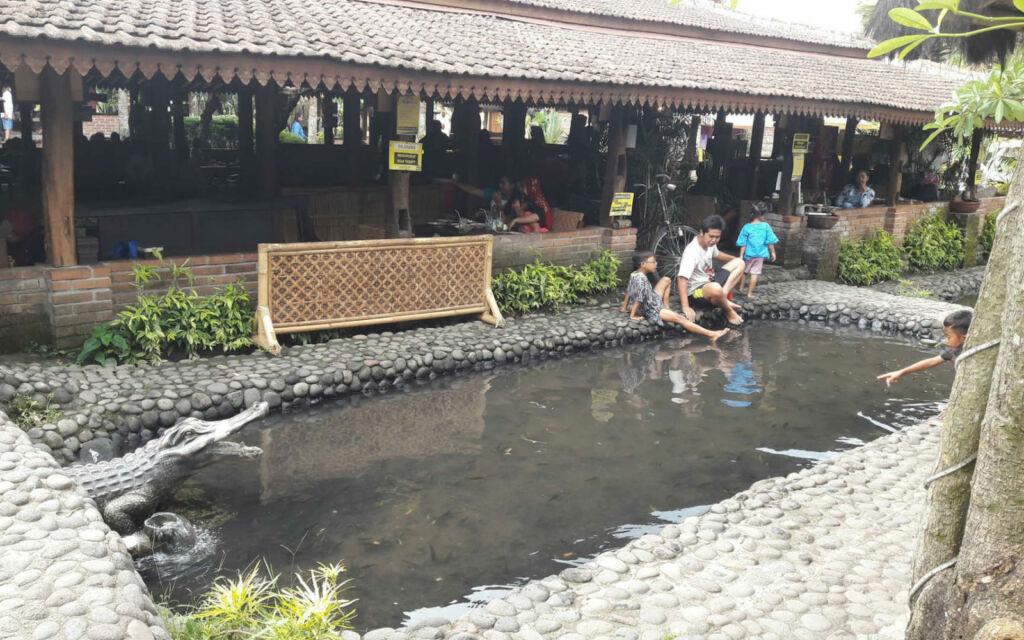 Kolam ikan di sekitar restoran