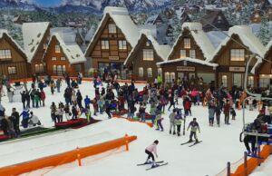 Bermain ski di trans snow world bintaro