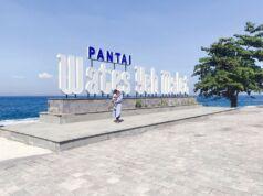 Landmark bertuliskan nama Pantai Wates Yeh Malet menjadi spot atraktif untuk swafoto