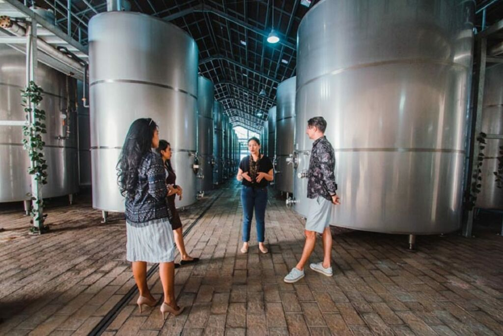Wisatawan diajak menelusuri kilang anggur untuk melihat proses produksi Sababay Wine Gianyar Bali - Sababay Winery (Winery Tour)