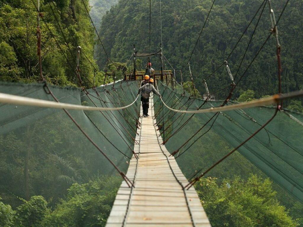 Melintasi Helena Sky Bridge di tengah hutan