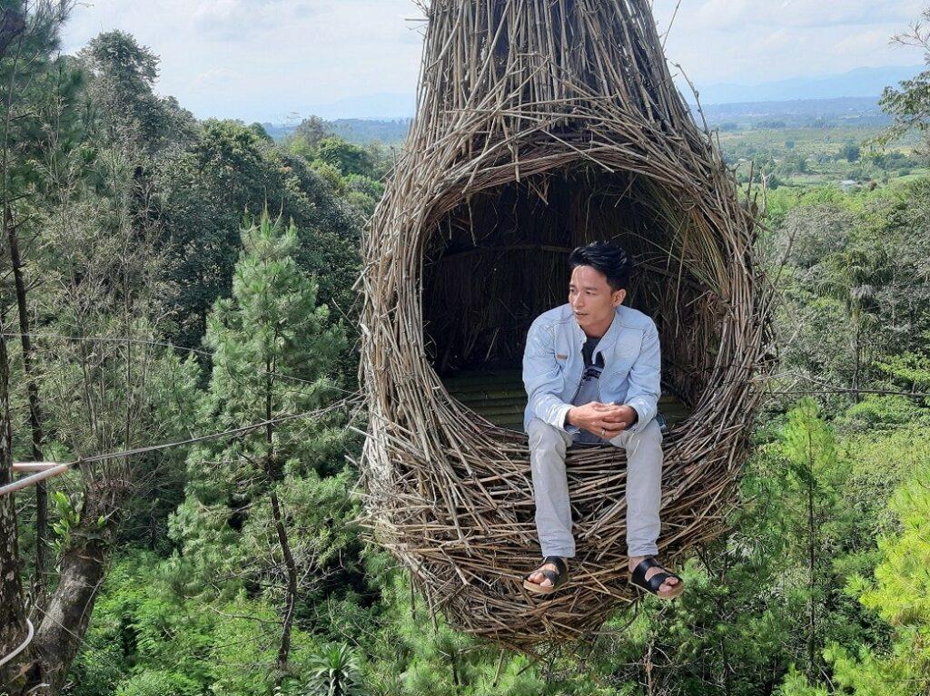 wahana foto sarang burung jumbo ikonik yang menggantung di udara