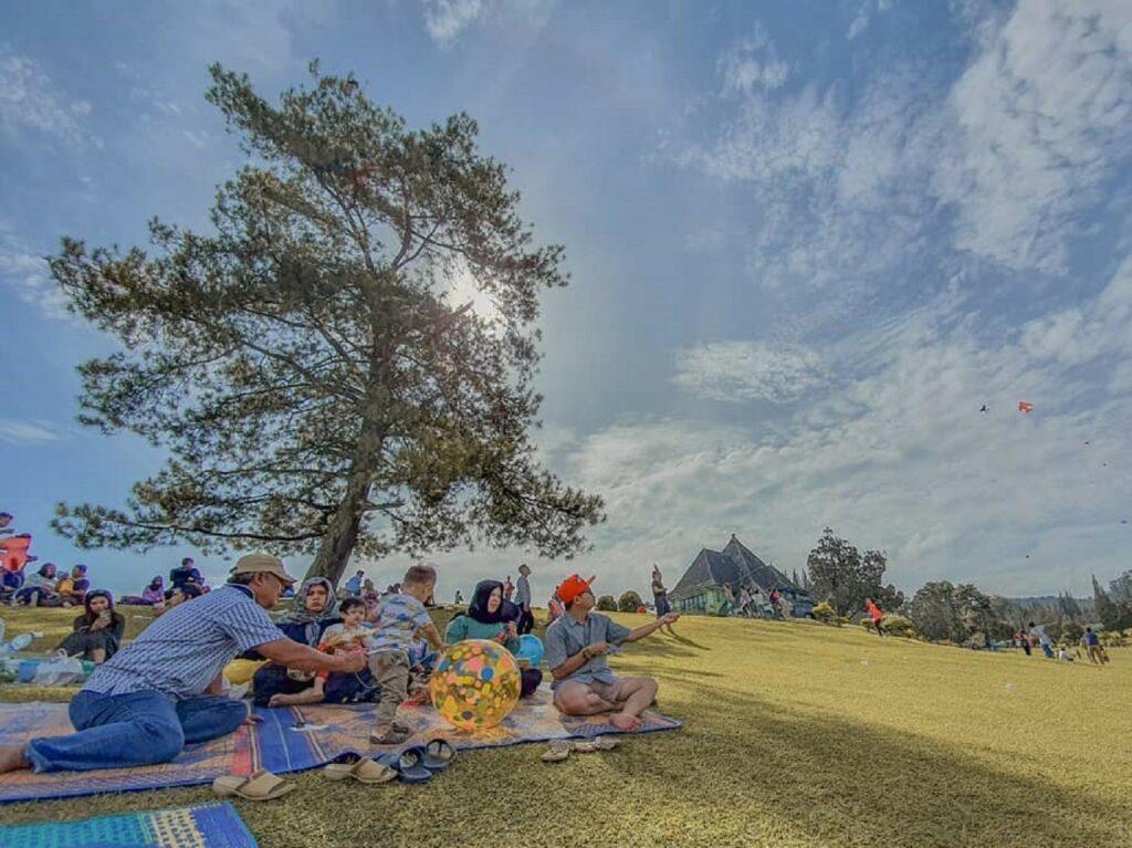 Bermain layang-layang sambil duduk santai di area taman