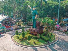 Tugu Ahmad Yani merupakan monumen ikonik di tengah Taman Ahmad Yani Medan Sumatera Utara - flatdrone