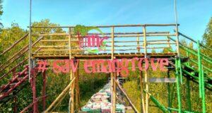 Jembatan warna-warni di mempawah mangrove