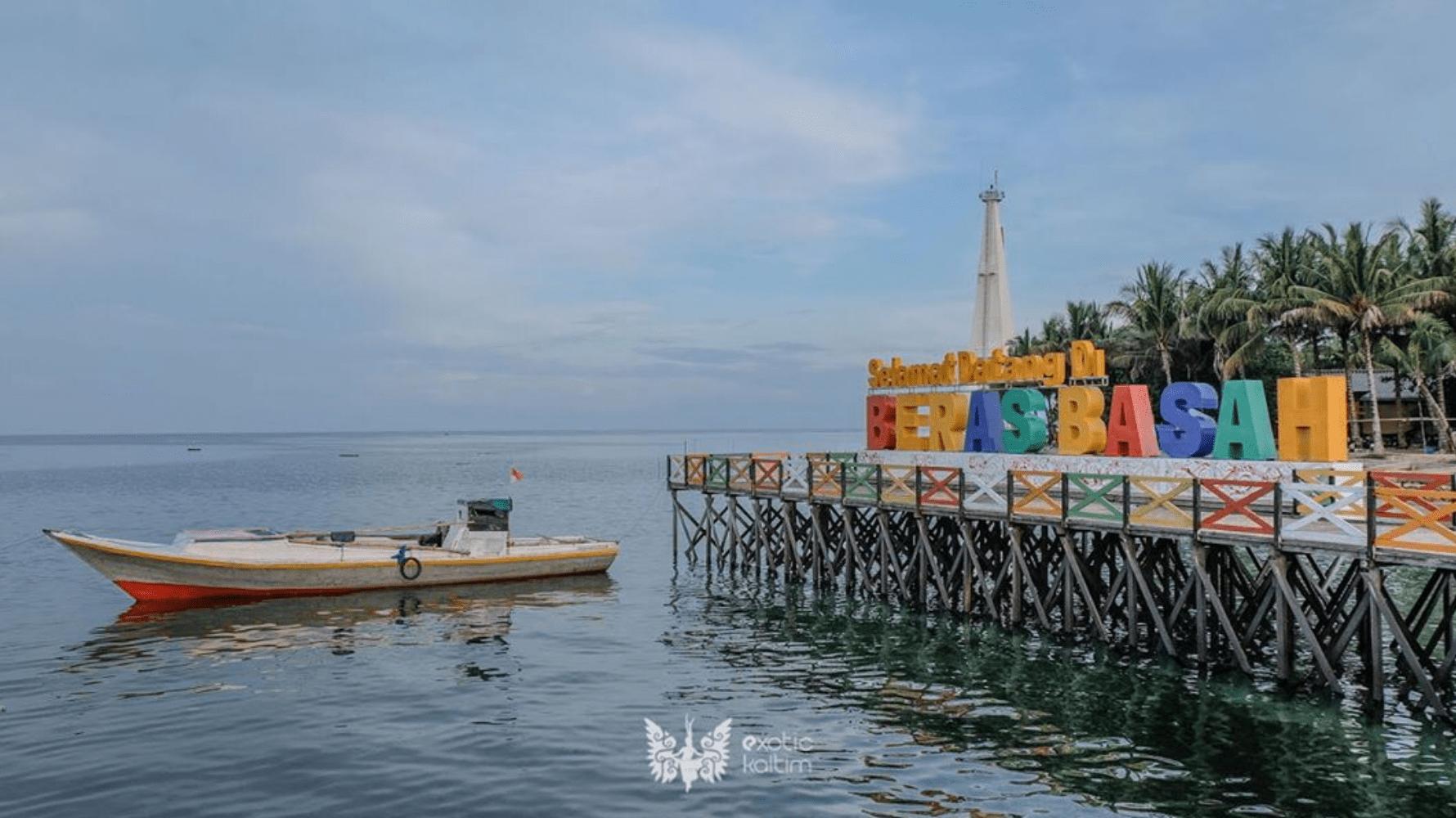 Tulisan Selamat datang di Pulau beras basah