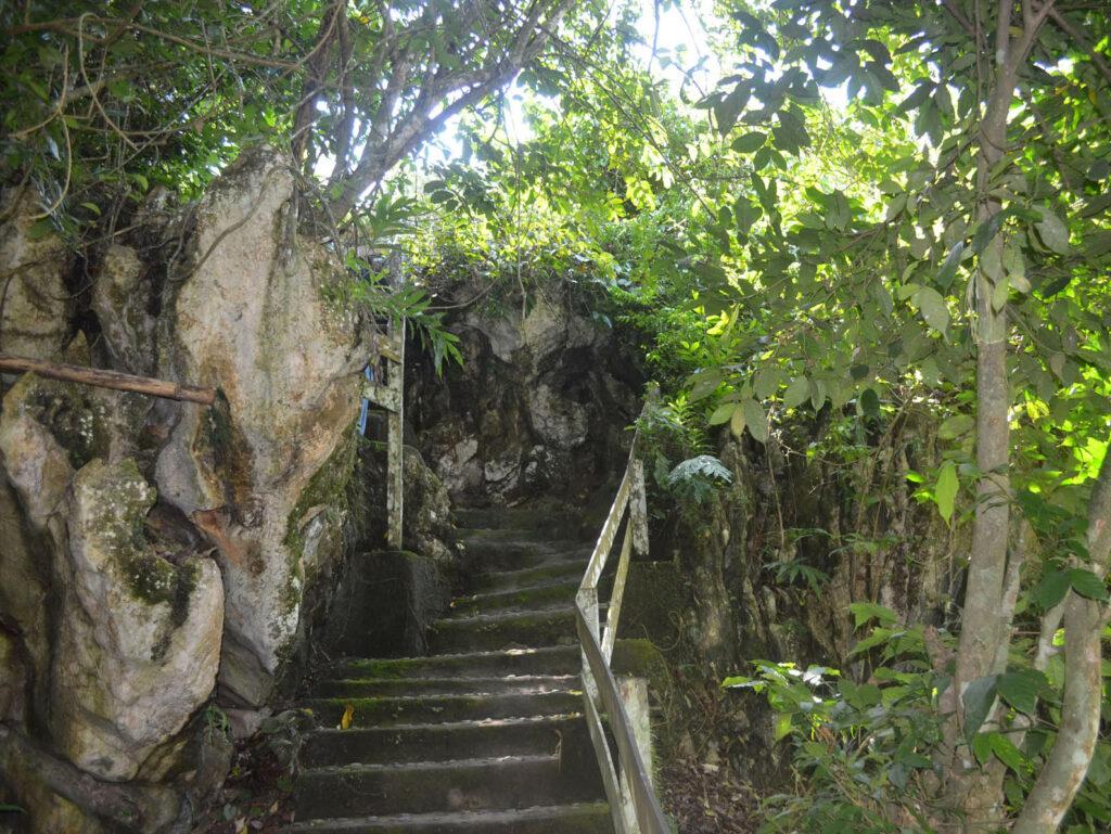 Naik ke puncak bukit dengan tangga