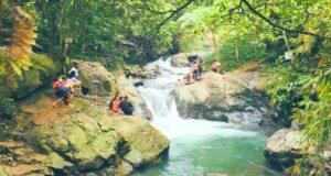 Aliran sungai jernih dengan bebatuan gunung di curug putri kencana