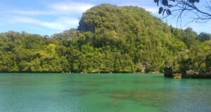 Pemandangan laguna berwarna hijau toska berlatar bukit karang