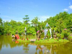 danau buatan di dalam taman bougenvile