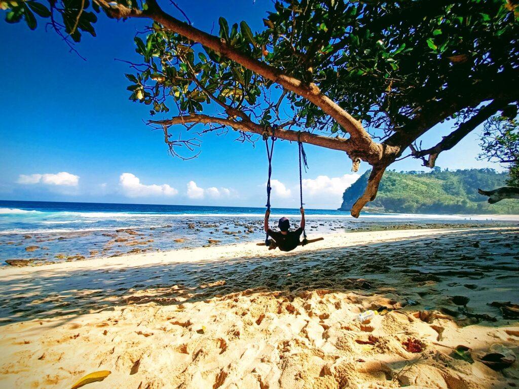 pengunjung bermain ayunan pohon di Pantai Ngalur