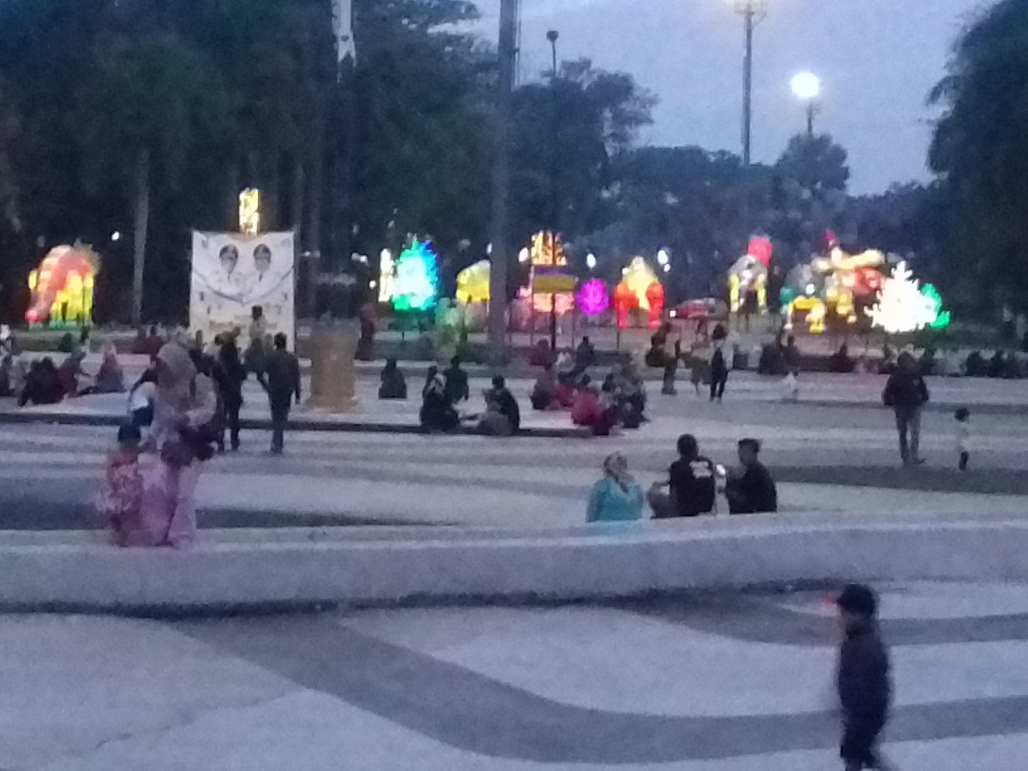 Suasana malam di Monumen Bandung Lautan Api
