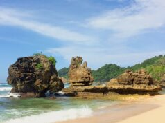 area karang eksotis di pantai selok