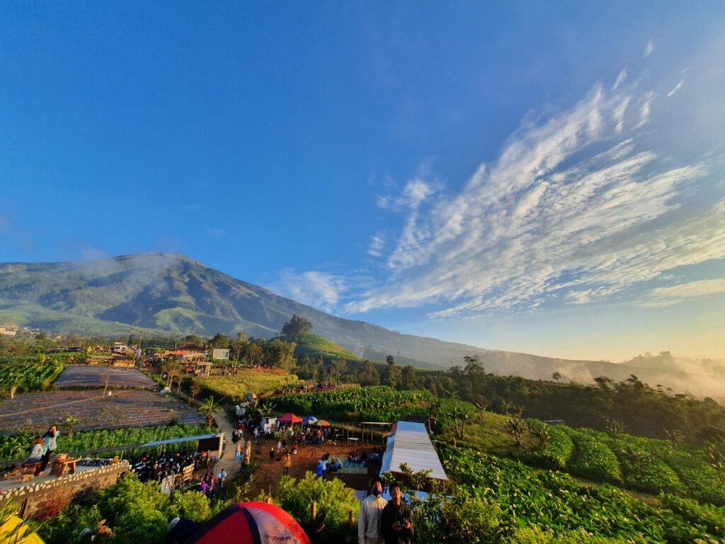 Panorama Gunung Sumbing yang berdiri megah di kejauhan