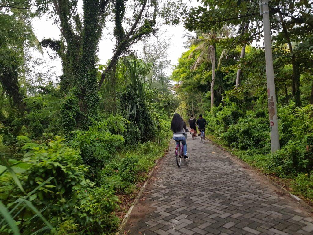 Wisatawan bersepeda menyusuri jalanan Pulau Pari