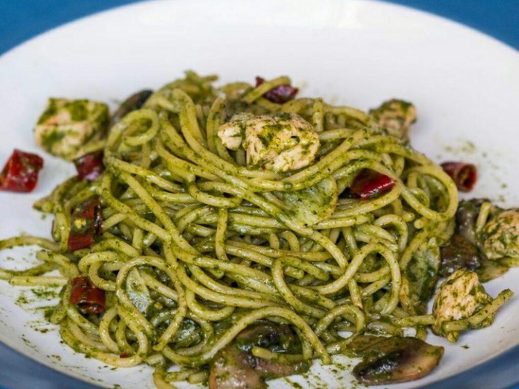 Spaghetti Basil Pesto Fat Bubble