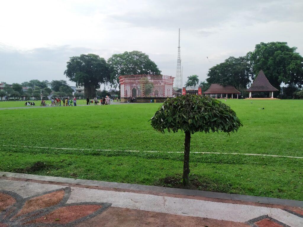 Pengunjung beraktivitas di sekitar pohon beringin di tengah lapangan