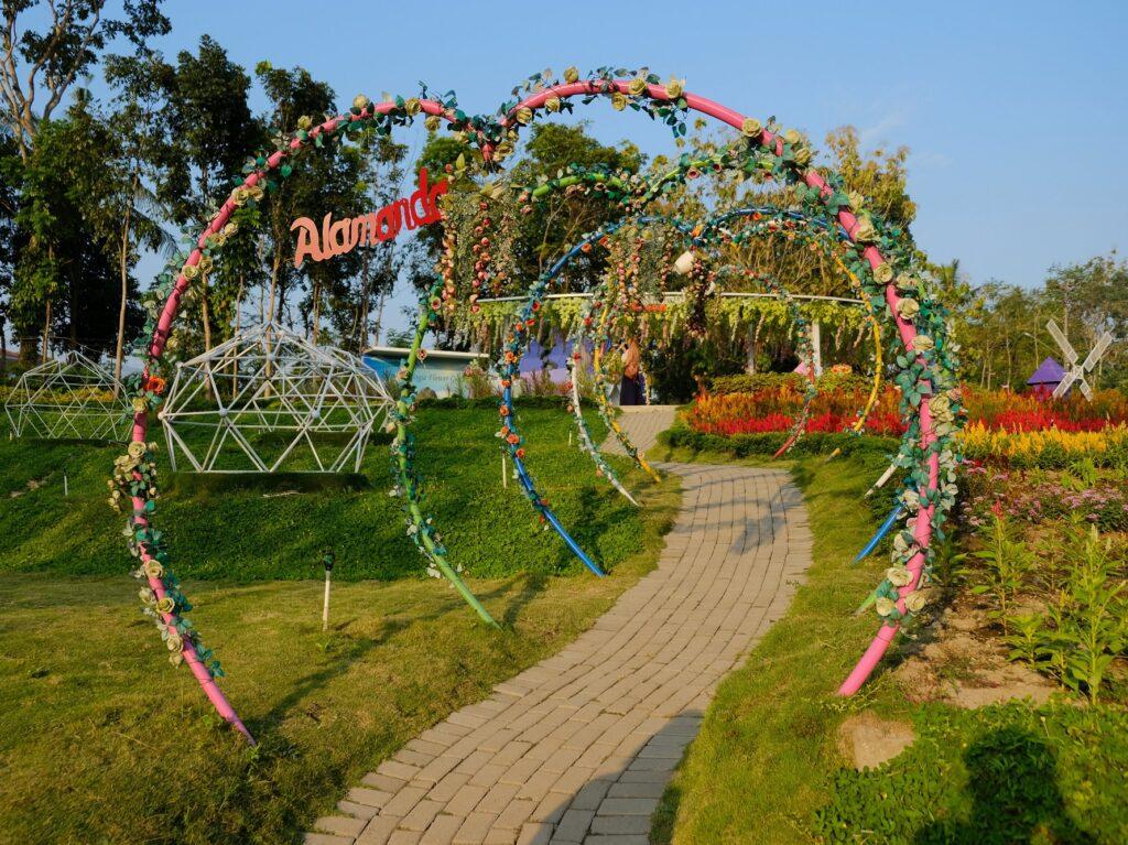 Spot Foto Favorit taman dengan dekorasi warna-warni di Alamanda Jogja Flower Garden