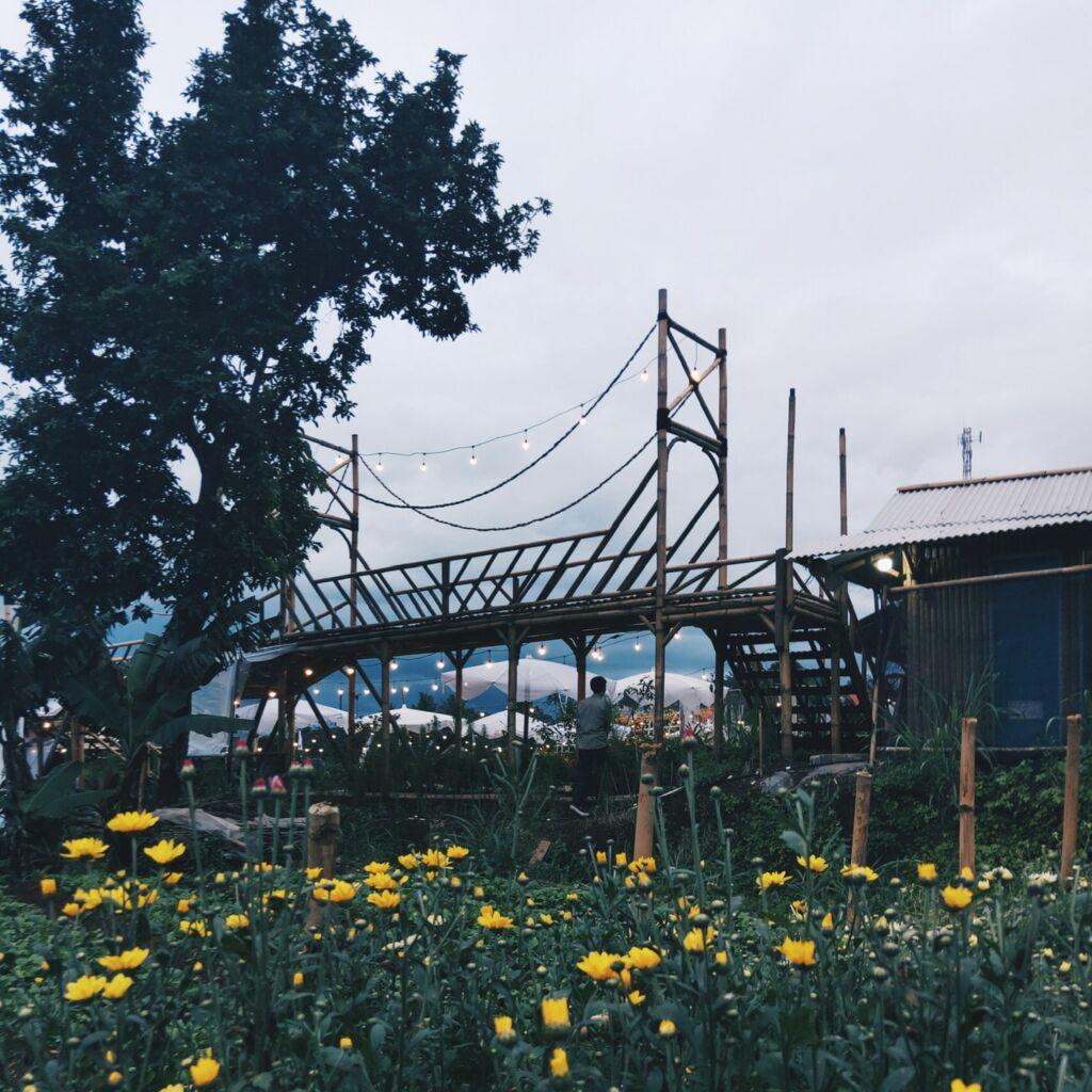 Jembatan bambu unik di tapos garden