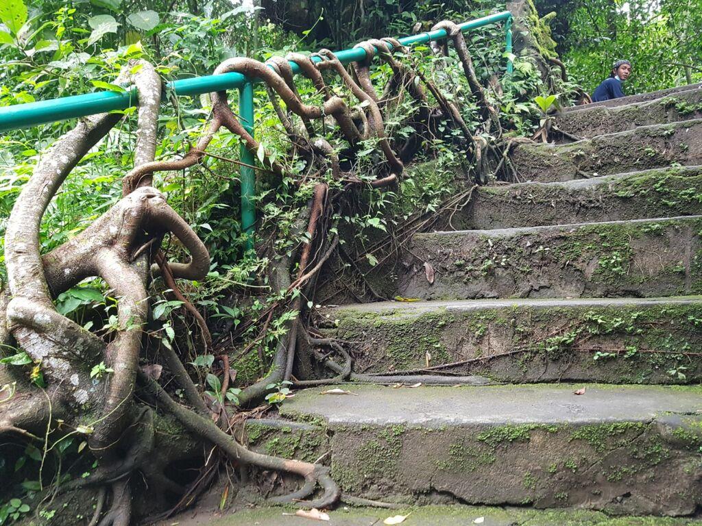 Jalur tangga menuju air terjun